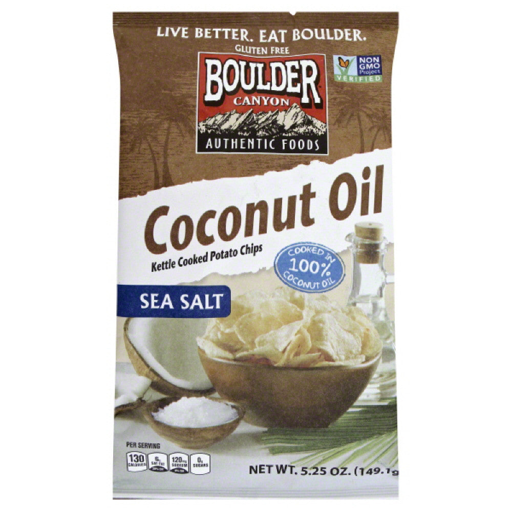 Boulder Canyon Sea Salt Coconut Oil Kettle Cooked Potato Chips, 5.25 Oz (Pack of 12)