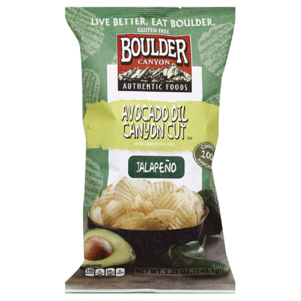 Boulder Canyon Jalapeno Avocado Oil Canyon Cut Kettle Cooked Potato Chips, 5.25 Oz (Pack of 12)