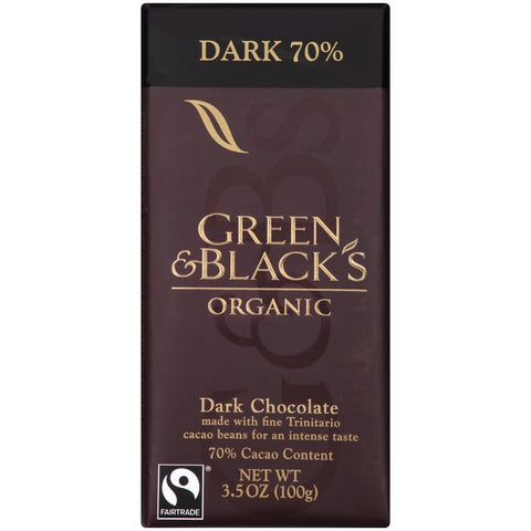 Green & Black's Organic Dark Chocolate with 70% Cacao Content 3.5 Oz Bar (Pack of 10)
