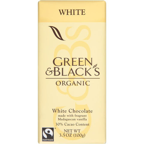 Green & Black's Organic White Chocolate 3.5 Oz Bar (Pack of 10)