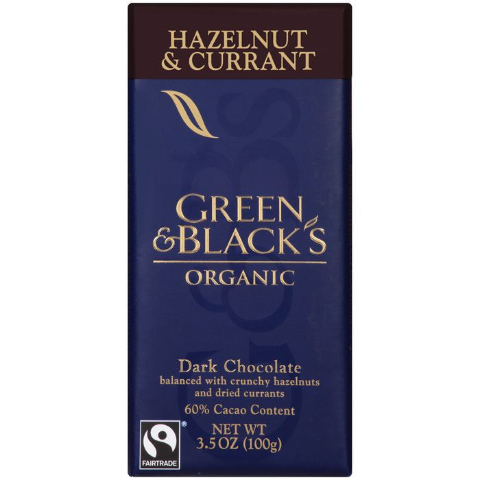 Green & Black's Organic Hazelnut & Currant Dark Chocolate with 60% Cacao Content 3.5 Oz Bar (Pack of 10)