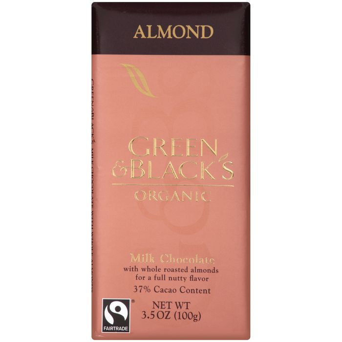 Green & Black's Organic Almond Milk Chocolate with 37% Cacao Content 3.5 Oz Bar (Pack of 10)