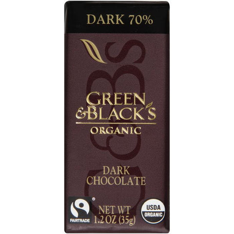 Green & Black's Organic Dark 70% Chocolate 1.2 Oz Bar (Pack of 20)