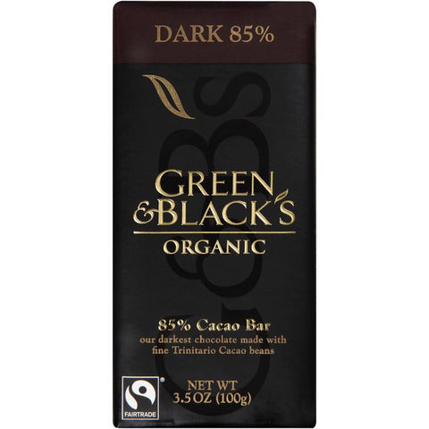 Green & Black's Organic Dark 85% Chocolate 3.5 Oz Bar (Pack of 10)
