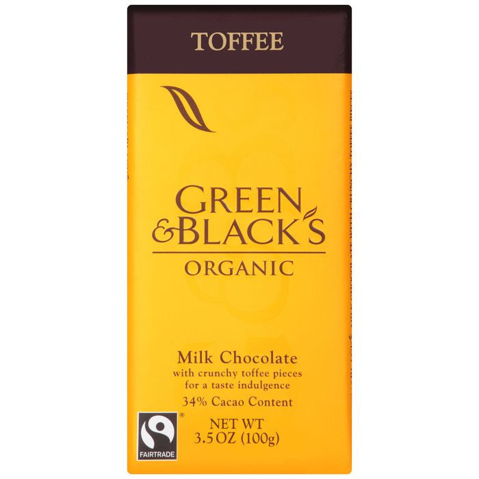 Green & Black's Organic Toffee Milk Chocolate with 34% Cacao Content 3.5 Oz Bar (Pack of 10)