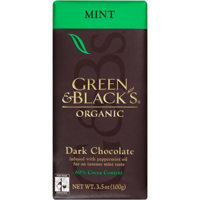Green & Black's Organic Mint Dark 60% Chocolate 3.5 Oz Bar (Pack of 10)