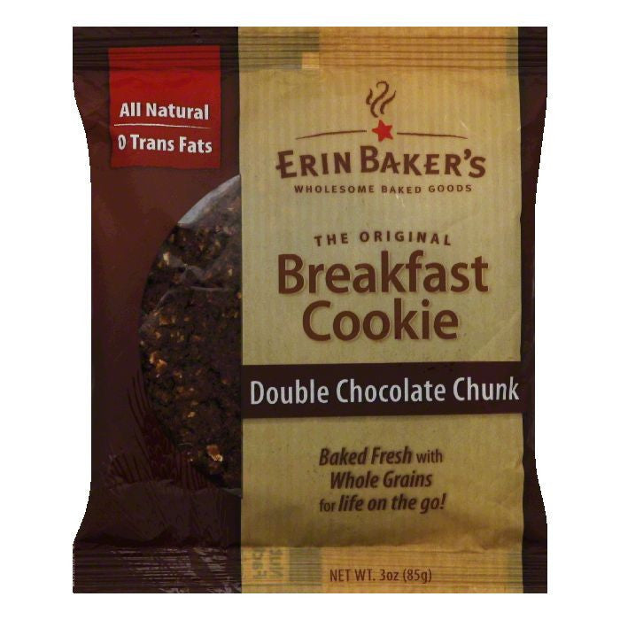 Erin Baker's Double Chocolate Chunk Cookies, 3 OZ (Pack of 12)