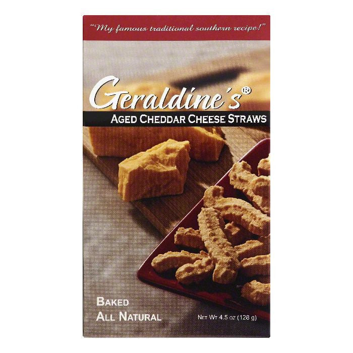 Geraldines Aged Cheddar Baked Cheese Straws, 4.5 OZ (Pack of 6)