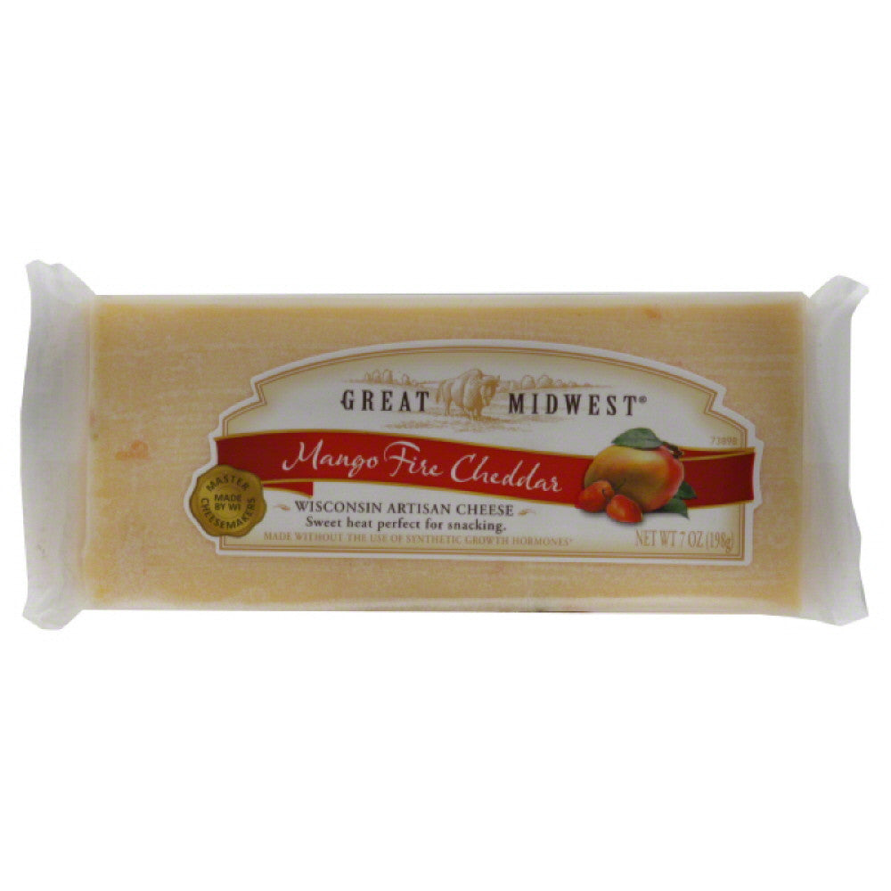 Great Midwest Mango Fire Cheddar Cheese, 7 Oz (Pack of 12)