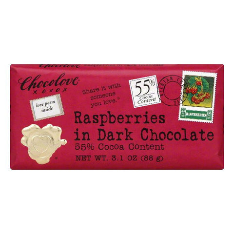 Chocolove Bar Raspberries in 55% Dark, 3.2 OZ (Pack of 12)