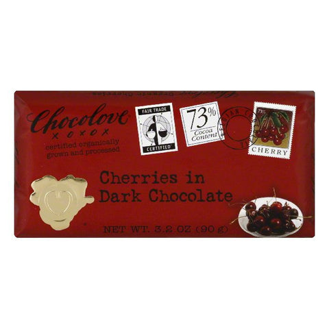 Chocolove Dark Cherries Chocolate Bar, 3.2 OZ (Pack of 12)