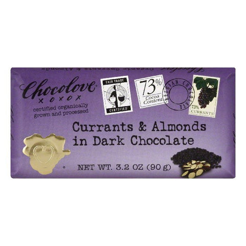 Chocolove Chocolate Bar Dark Currents Almonds, 3.2 OZ (Pack of 12)