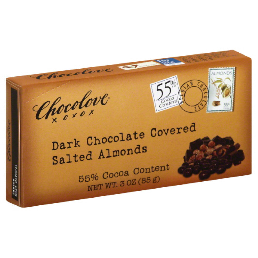 Chocolove Dark Chocolate Covered Salted Almonds, 3 Oz (Pack of 6)