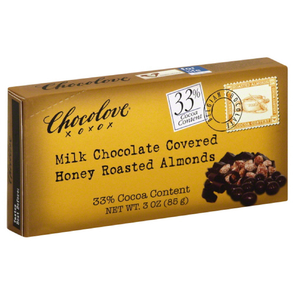 Chocolove Milk Chocolate Covered Honey Roasted Almonds, 3 Oz (Pack of 6)