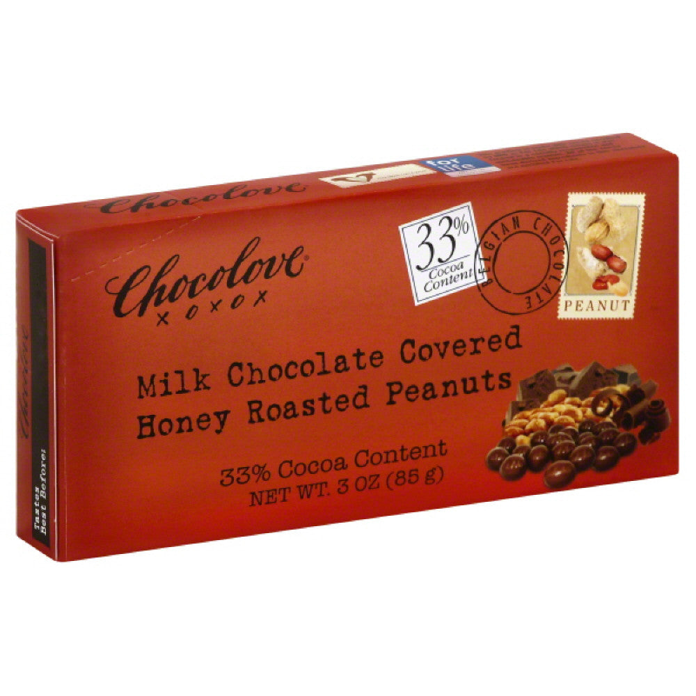 Chocolove Milk Chocolate Covered  Honey Roasted Peanuts, 3 Oz (Pack of 6)