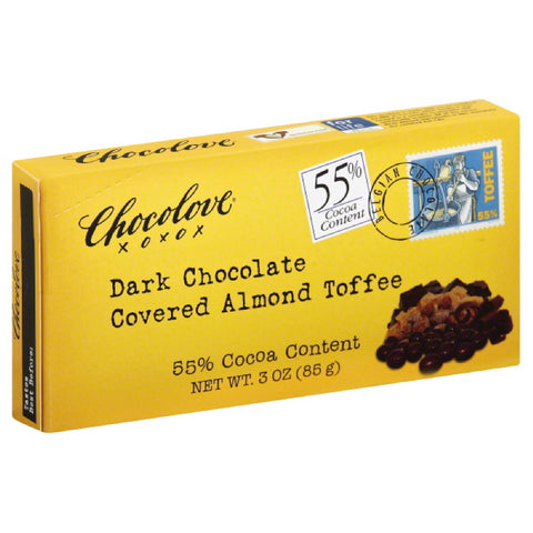 Chocolove Dark Chocolate Covered Almond Toffee, 3 Oz (Pack of 6)
