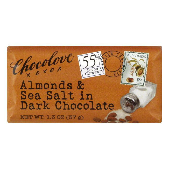 Chocolove Dark Almond and Seasalt Chocolate Bar, 1.3 OZ (Pack of 12)