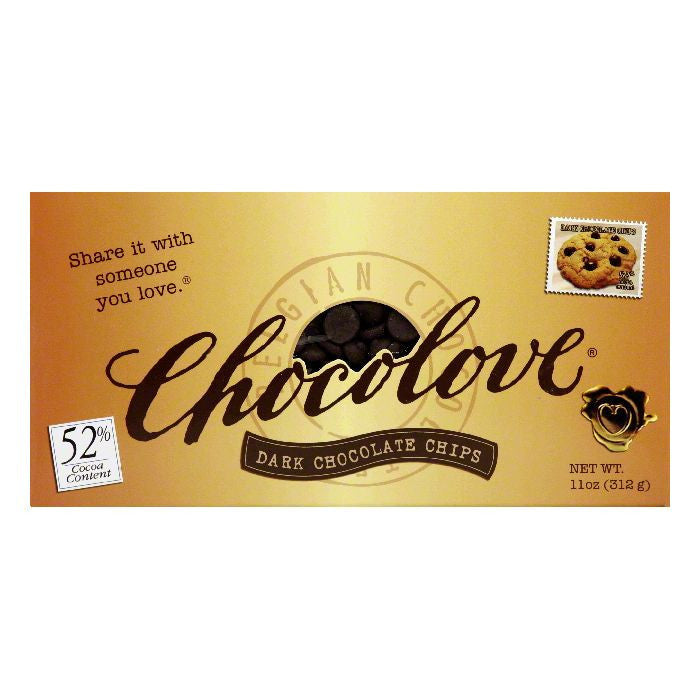 Chocolove 52% Cocoa Content Belgian Dark Chocolate Chips, 11 Oz (Pack of 12)