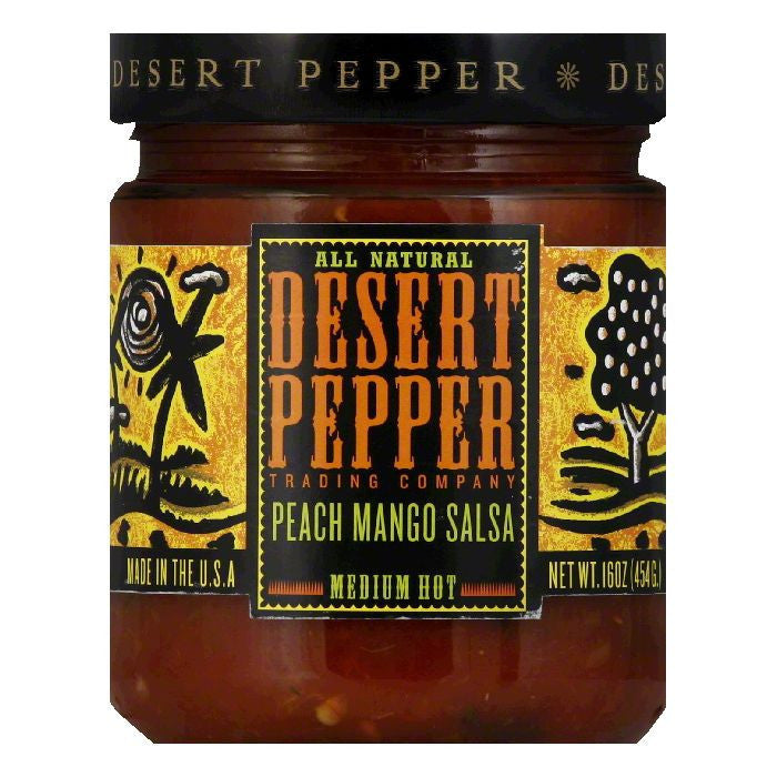 Desert Pepper Mango Peach Salsa - Medium Hot, 16 OZ (Pack of 6)