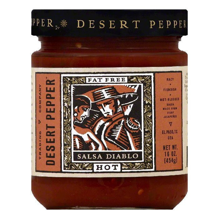 Desert Pepper Hot Diablo Salsa, 16 OZ (Pack of 6)