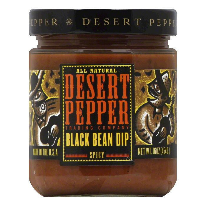 Desert Pepper Spicy Black Bean Dip - Medium, 16 OZ (Pack of 6)