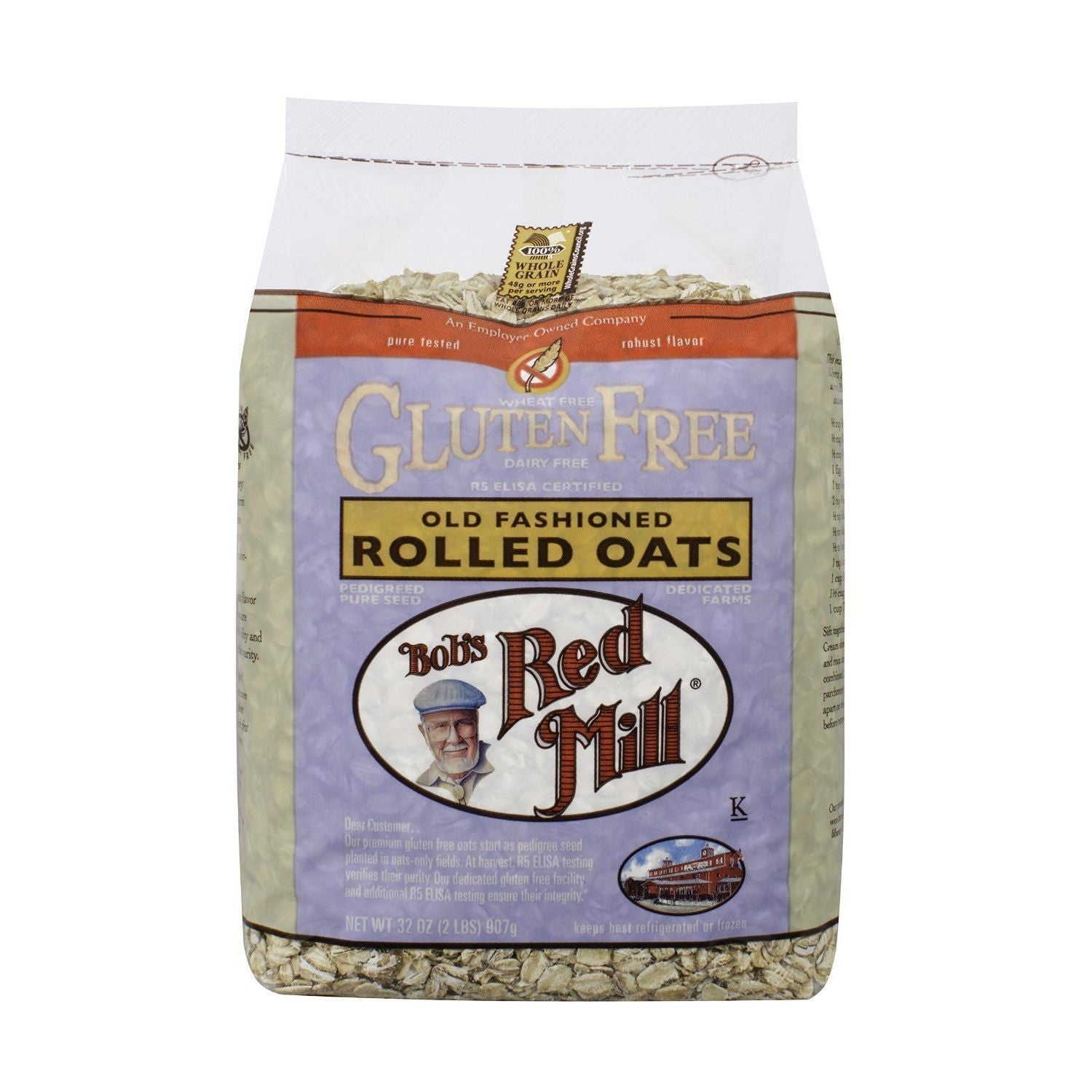 Bob's Red Mill Gluten Free Whole Grain, Rolled Oats, 32 Oz (Pack of 4)