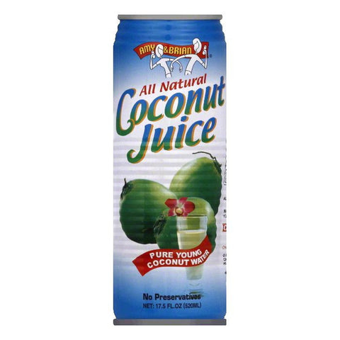 Amy & Brian Coconut Juice, 17.5 OZ (Pack of 12)
