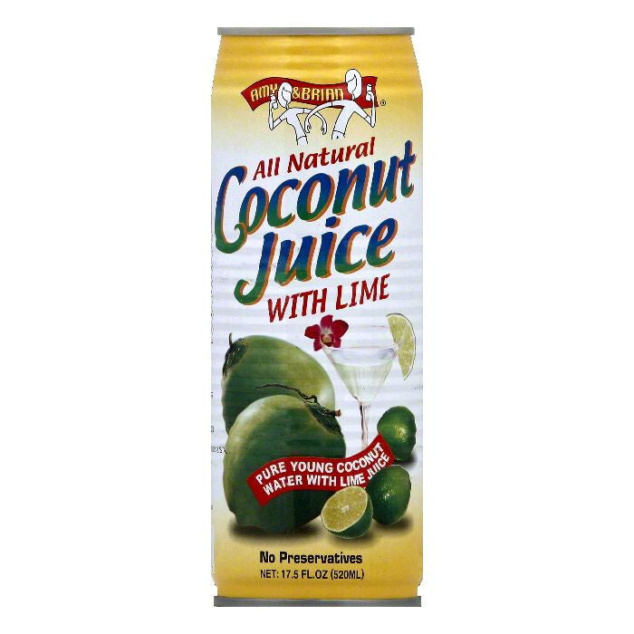 Amy & Brian Coconut Juice with Lime, 17.5 OZ (Pack of 12)