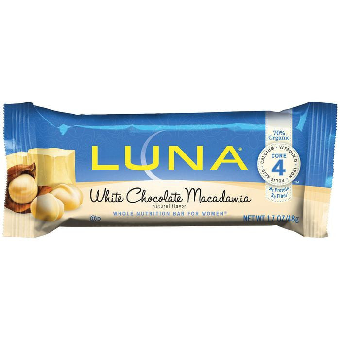 LUNA White Chocolate Macadamia Nutrition Bar 1.7 Oz  (Pack of 15)