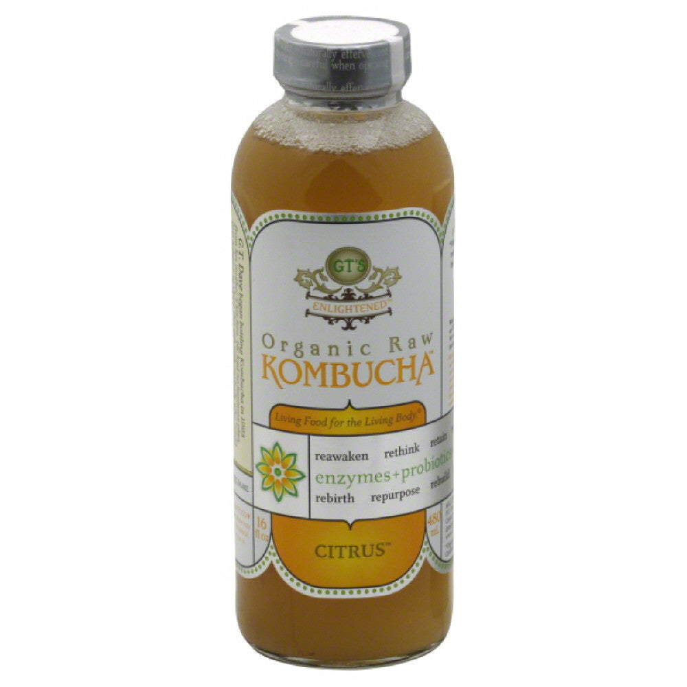 GTs Citrus Organic Raw Kombucha, 16 Oz (Pack of 12)