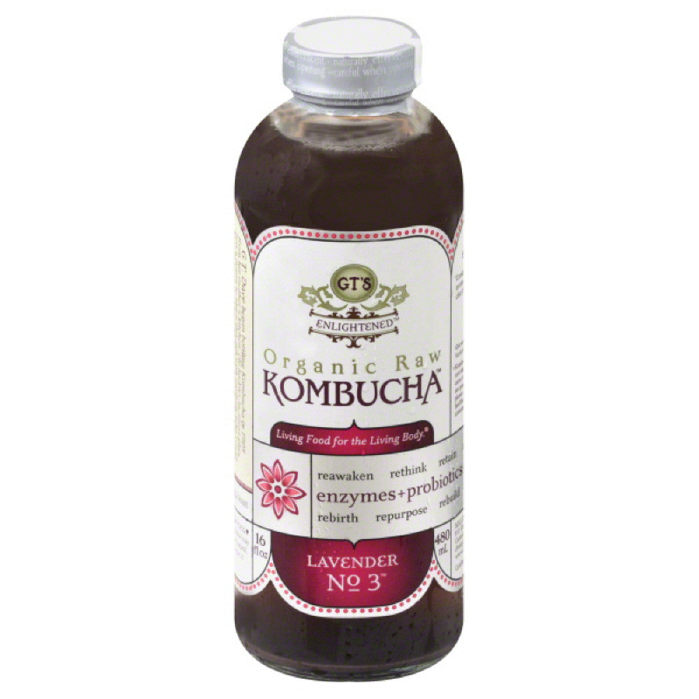 GTs Lavender No. 3 Organic Raw Kombucha, 16 Oz (Pack of 12)