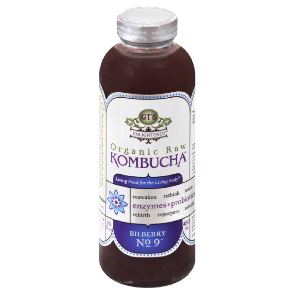 GTs Bilberry No. 9 Organic Raw Kombucha, 16 Oz (Pack of 12)