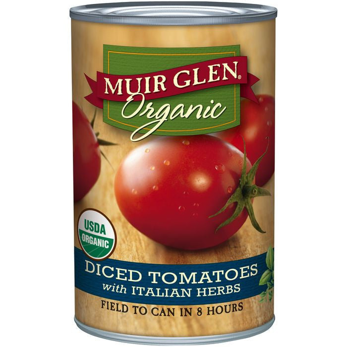 Muir Glen Organic Diced Tomatoes with Italian Herbs 14.5 Oz  (Pack of 12)