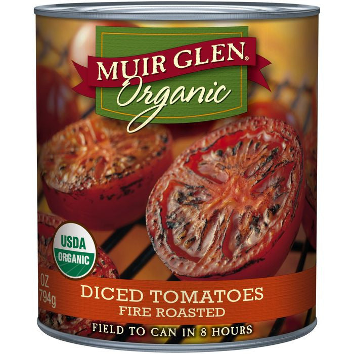 Muir Glen Organic Fire Roasted Diced Tomatoes 28 Oz  (Pack of 12)