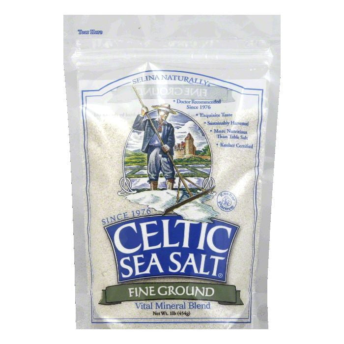 Celtic Sea Salt Fine Ground Pouch, 1 LB (Pack of 6)