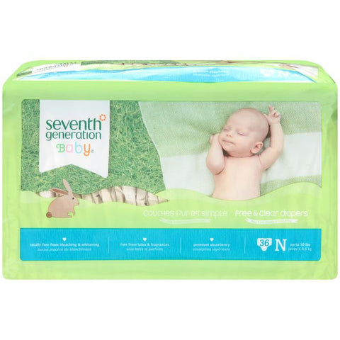Seventh Generation Baby Free & Clear Diapers Newborn Up to 10 lbs. 36 ct Package (Pack of 4)