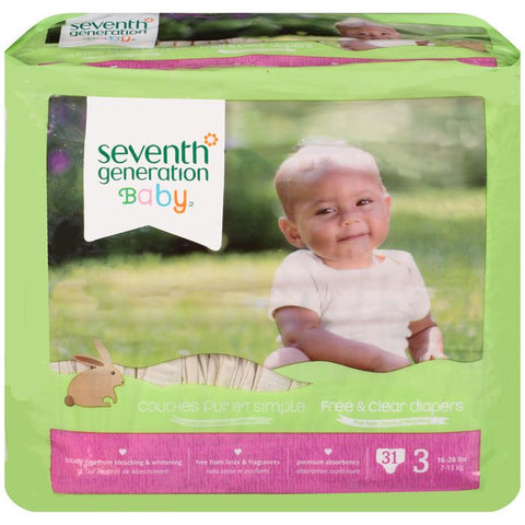 Seventh Generation Baby Free & Clear Diapers Stage 3 16-28 lbs. 31 ct Package (Pack of 4)