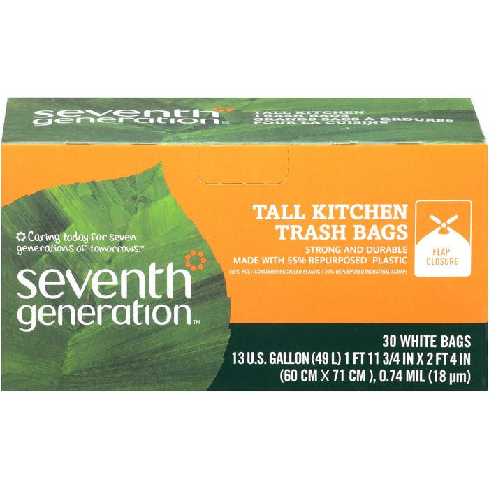 Seventh Generation Tall Kitchen Trash Bags with Flap Closure 13 gal. 30 ct  (Pack of 12)