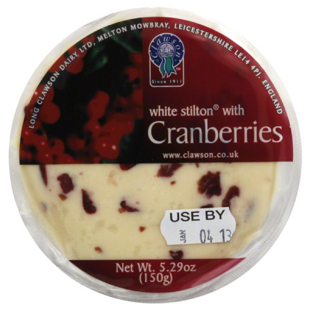 Clawson White Stilton with Cranberries, 5.3 Oz (Pack of 12)