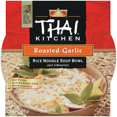 Thai Kitchen TK Rice Noodle Bowl Roasted Garlic Rice Noodle Bowls 2.4 Oz Microwave Bowl (Pack of 6)