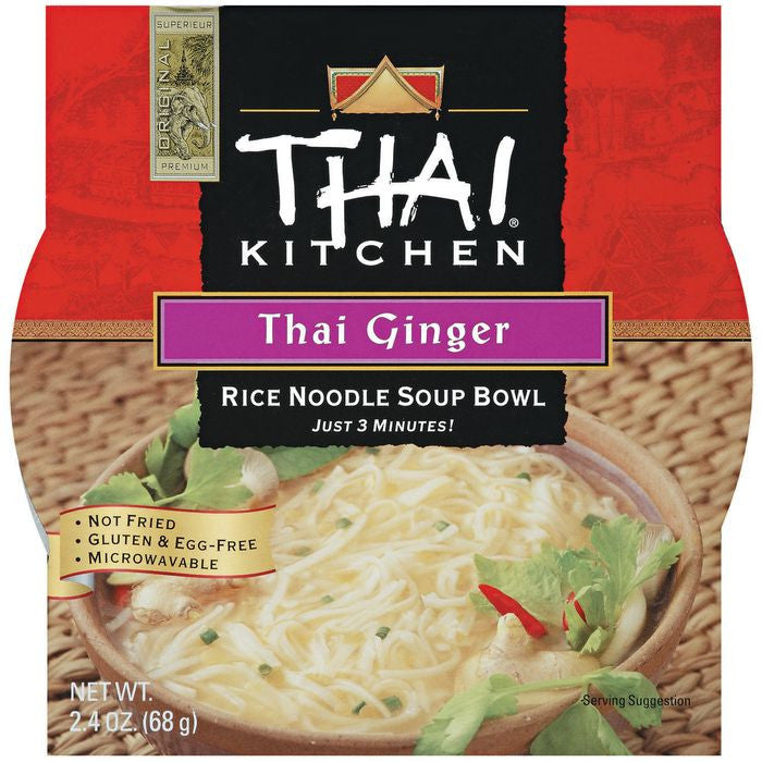 Thai Kitchen TK Ginger & Vegetable Noodle Bowl Rice Noodle Bowls 2.4 Oz Microwave Bowl (Pack of 6)