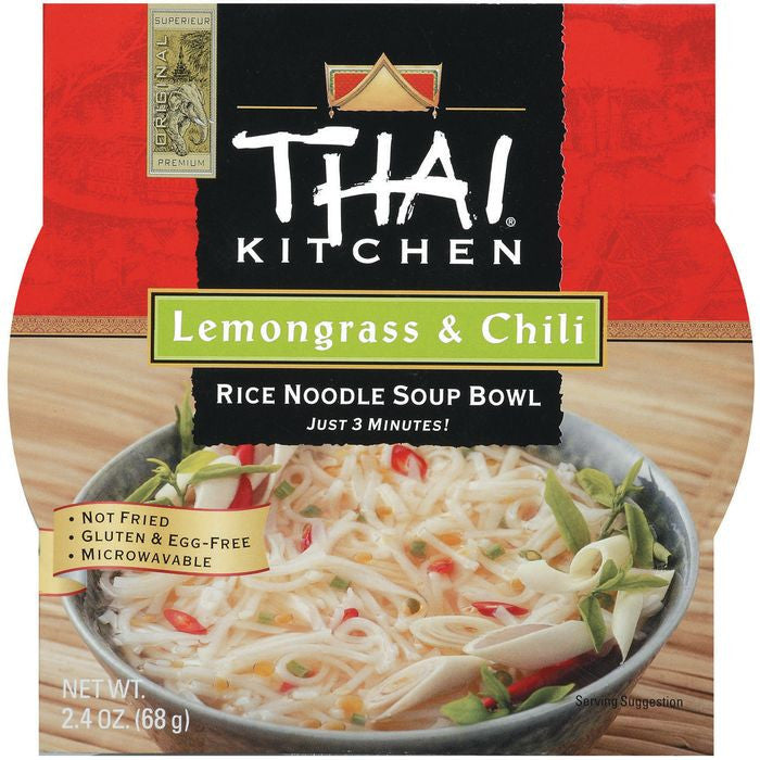 Thai Kitchen TK Lemongrass & Chili Noodle Bowl Rice Noodle Bowls 2.4 Oz Microwave Bowl (Pack of 6)