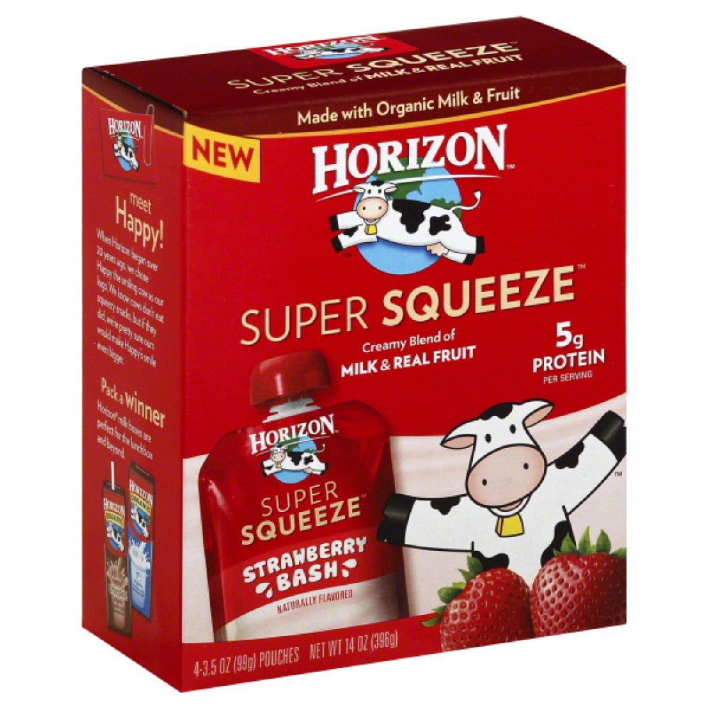 Horizon Strawberry Bash Super Squeeze, 14 Oz (Pack of 6)
