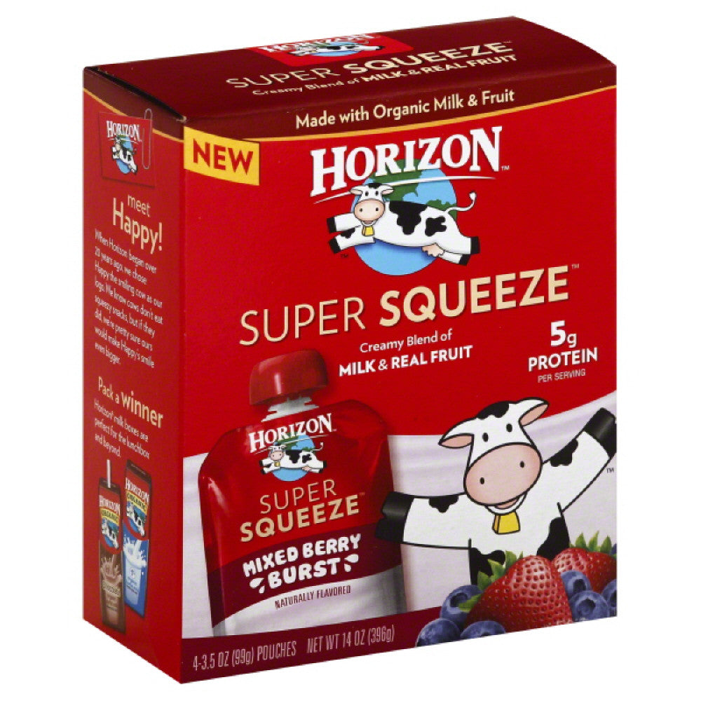 Horizon Mixed Berry Burst Super Squeeze, 14 Oz (Pack of 6)