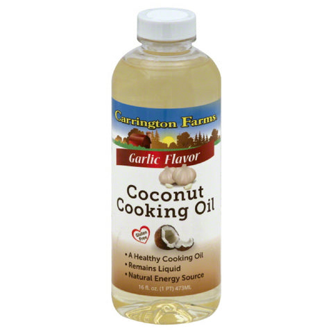 Carrington Farms Garlic Flavor Coconut Cooking Oil, 16 Oz (Pack of 6)