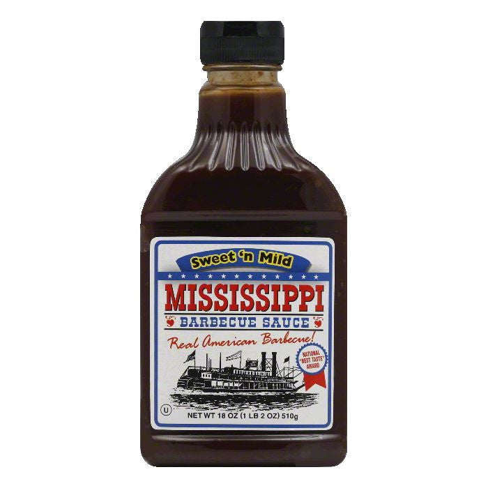 Mississippi BBQ Sweet 'n Mild BBQ Sauce, 18 OZ (Pack of 6)