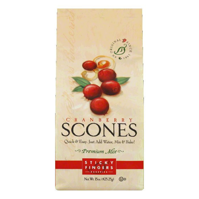 Sticky Fingers Cranberry Scone Mix, 15 OZ (Pack of 6)