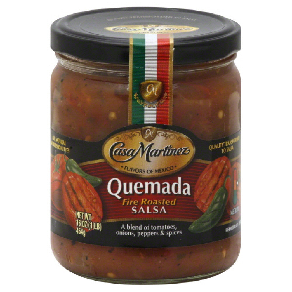Casa Martinez Medium Quemada Fire Roasted Salsa, 16 Oz (Pack of 6)