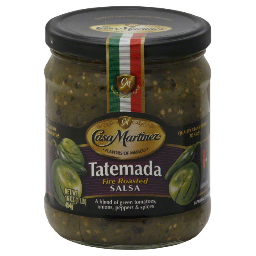 Casa Martinez Medium Fire Roasted Tatemada Salsa, 16 Oz (Pack of 6)