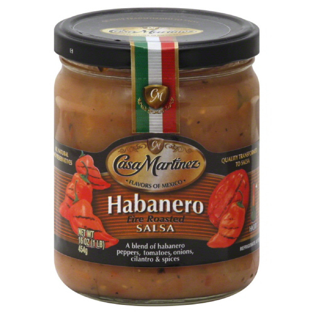 Casa Martinez Hot Habanero Fire Roasted Salsa, 16 Oz (Pack of 6)
